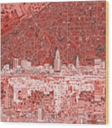 Cleveland Skyline Abstract 10 Wood Print