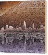 Cleveland Skyline Abstract 2 Wood Print