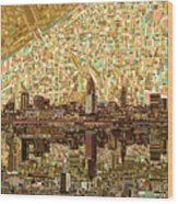Cleveland Skyline Abstract 6 Wood Print