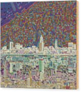 Cleveland Skyline Abstract 8 Wood Print