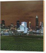 Cleveland Skyline At Night Wood Print