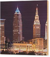 Cleveland Skyline Night Color - Downtown Buildings Wood Print