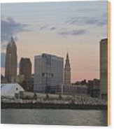 Cleveland Skyline And Port On The Cuyahoga River Wood Print