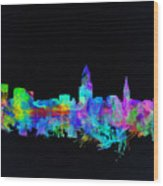 Cleveland Skyline Watercolor 3 Wood Print