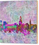 Cleveland Skyline Watercolor Wood Print