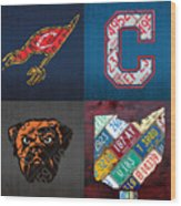 Cleveland Sports Fan Recycled Vintage Ohio License Plate Art Cavaliers Indians Browns And State Map Wood Print