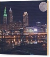 Cleveland With Full Moon Wood Print