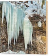 Cliff Ice Wood Print