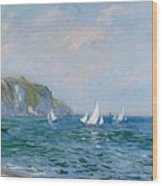 Cliffs And Sailboats At Pourville  Wood Print