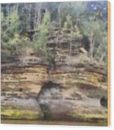 Cliffs At The Dells Wood Print
