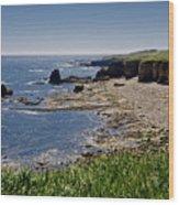 Cliffs Near Souter Lighthouse. Wood Print
