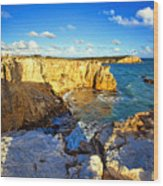 Cliffs Of Cabo Rojo At Sunset Wood Print by George Oze