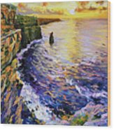Cliffs Of Moher At Sunset Wood Print