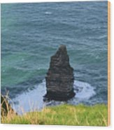 Cliff's Of Moher Needle Rock Formation In Ireland Wood Print