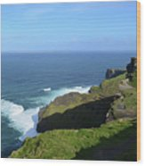 Cliff's Of Moher With White Water At The Base In Ireland Wood Print