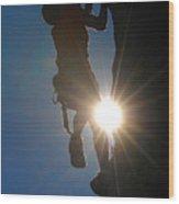 Climber Silhouette Wood Print