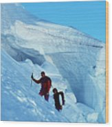 Climbers On Mont Blanc Wood Print