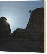 Climbing In Joshua Tree Wood Print