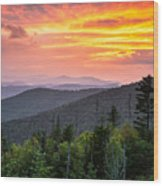 Clingmans Dome Great Smoky Mountains - Purple Mountains Majesty Wood Print