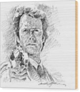 Clint Eastwood As Callahan Wood Print