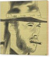 Clint Eastwood Wood Print