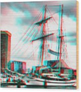 Clipper City - Use Red-cyan 3d Glasses Wood Print