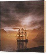 Clipper Ship At Sunset Wood Print