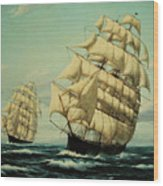 Clipper Ships Racing To Port Wood Print