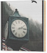 Clock Raven Wood Print