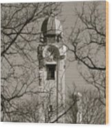 Clock Tower In Black And White Wood Print
