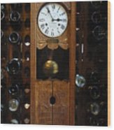 Clock Wine Rack Wood Print
