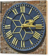 Clock With Gold Hands. Wood Print
