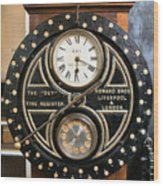 Clocking On Wood Print