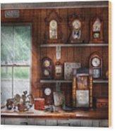 Clocksmith - In The Clock Repair Shop Wood Print