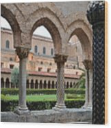 Cloister Of The Abbey Of Monreale. Wood Print