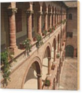 Cloistered Courtyard Wood Print