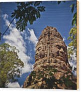 Cloning Out Tourists At Ta Prohm Temple, Angkor Archaeological Park, Siem Reap Province, Cambodia Wood Print
