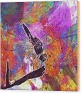 Close Up Dragonfly Insect Macro  Wood Print