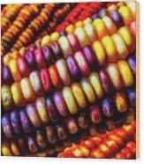 Close Up Indian Corn Wood Print