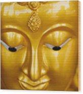 Close-up Of A Golden Buddha Wood Print