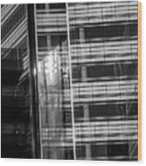 Close Up Of Black And White Glass Building Wood Print