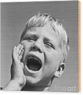 Close-up Of Boy Shouting, C.1950s Wood Print