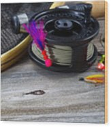 Close Up Of Fly Reel With Fly Jig Hanging From Spool  Wood Print