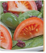 Close Up Of Fresh Spinach Salad On White Plate  Wood Print
