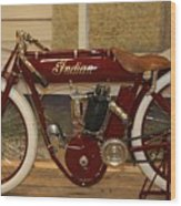 close up of red Indian motorcycle   # Wood Print