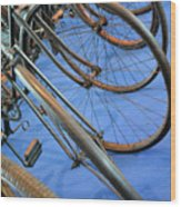 Close Up On Many Wheels From Bicycles  Wood Print