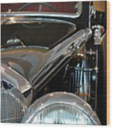Close Up On Vintage Black Shining Car Wood Print