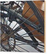 Close Up On Vintage Wheel Of Bicycle  Wood Print