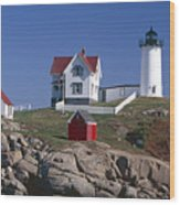Close Up View Of A Lighthouse Cape Neddick Maine Wood Print