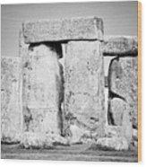 Close Up View Of Circle Of Sarsen Stones With Lintel Stones Stonehenge Wiltshire England Uk Wood Print